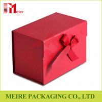 China Ribbon Bow Tie Magnetic Closure Cardboard Gift Packing box with red Panton printing wholesale