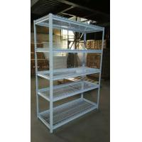 China 5 Multi Level White Light Duty Shelving Slotted - Angle Rack In Wire Mesh Deck on sale