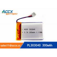 China Rechargeable 303040 Lithium polymer battery 3.7V 300mah for bluetooth speaker wholesale