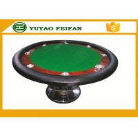 China Classic 8 People 48'' small cheap round  wooden table for poker game with 8 cup holders and one steel leg wholesale