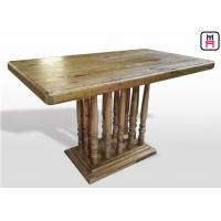 China Vintage Rectangle Restaurant Dining Table With Rustic Solid Wood Roman Column wholesale