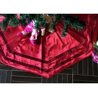 China Red Patchwork Christmas Tree Skirt Polyester / Velvet Material For Decorative wholesale