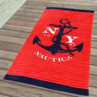 China 350gsm Cool Anchor Plain Beach Towel  with Red and Blue Stripe 75*140cm wholesale