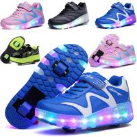 Quality Seven Color Changing LED Light Up Sneaker Shoes with Two Wheels for sale