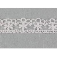 China Floral Embroidered Lace Trim Scalloped Mesh Lace Ribbon For Fashion Dress Designer wholesale