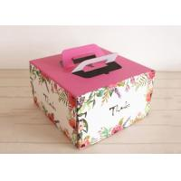 China Custom Colored Kraft Paper Cake Boxes With Handles Self - sealing Pastry Boxes on sale