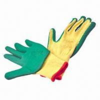 China 10S yellow T/C cotton gloves, green latex coating, crinkle finish wholesale