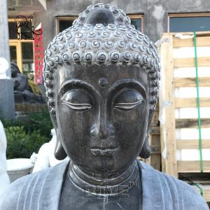China BLVE Garden Buddha Statue Water Fountain Black Natural Stone Handcarved Life Size Holding Lotus Leaf wholesale
