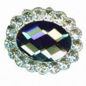 China Elegant metal brooch, glued with acrylic stones, 35mm diameter wholesale