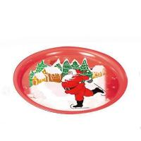 China Round Christmas Print Serving Tin Trays wholesale