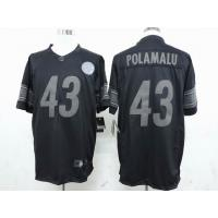 China nike nfl Pittsburgh Steelers 43 Polamalu black drenched jersey wholesale