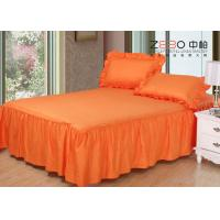 China 3cm Strip Elegant Hotel Bed Skirts Detachable Orange Color 200gsm wholesale