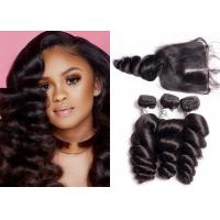 China Unprocessed Brazilian Loose Wave Hair Weave With Lace Closure Double Sewed Weft wholesale
