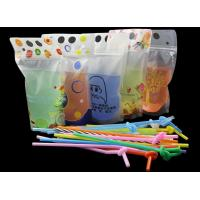 China Stand Up Reclosable Zipper Clear Drink Pouches Bags with Plastic Straw, 8mil Hand-held Drinking Bags 15 Bottom Gusset on sale