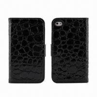 China Standing Leather Case, Fits for iPhone 4/4S, Keep in Stock, MOQ is 100pcs wholesale
