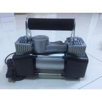 China Two Cylinder Strong Inflator Car Air Pump Steel Material , Clip Or Cigarette Lighter Power wholesale