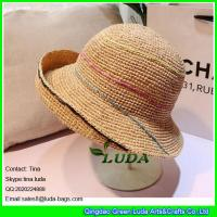 China LDMZ-006 natural raffia straw crochet women beach hats wholesale