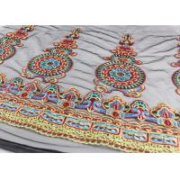 China 47 Inches Dresses Multi Colored Lace Fabric , Polyester Embroidered Floral Tulle Fabric wholesale