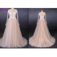 China Long See Through Lace A Line Tulle Female Wedding Dress With Pearls Beading wholesale
