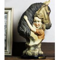 China Little Girl and horse Ornaments Resin Craft on sale