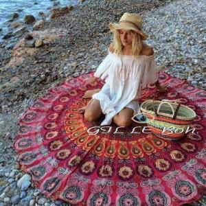 China Sun Shine Custom Made Printed Microfiber Turkish Round Beach Towel for sales wholesale