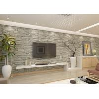 China Stylish Removable Faux 3D Brick Effect Wallpaper with Grey Stone Pattern for Living Room wholesale
