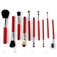 China Christmas Gift Cosmetic Brush Set Red Color Aluminum Ferrule Material Customized Logo wholesale