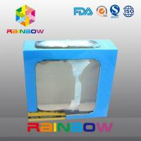 China Blue Customized Printing And Size Waxed Cardboard Paper Box With Clear PVC Window wholesale
