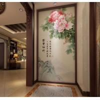 China Peony Leaf Faux Leather Wall Covering Bamboo Fiber 3D Decorative Wall Panels wholesale