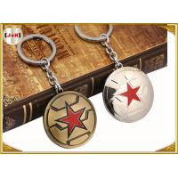 China Brass Brushed Custom Made Metal Engraved Name Keychains Five Pointed Star Design wholesale