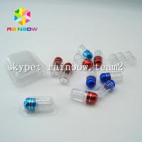 Quality Clear capsule plastic medicine bottle , sex pill container with aluminum foil gold cap for sale