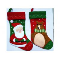 China Fashion Red Christmas Stocking , Patchwork Embroidered Christmas Stockings wholesale