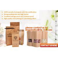 China ziplock colorful printing stand up kraft paper bags with clear window,Brown kraft paper aluminum foil zipper plastic bag wholesale