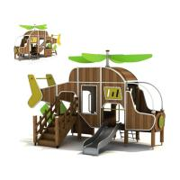 China Kindergarten Helicopter Slide Wooden Outdoor Play Equipment Easy To Clean wholesale