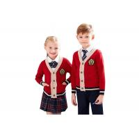 China Red Color School Uniform Sweaters , Boys School Sweater Anti Shrinkage wholesale