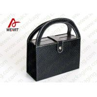 China Black Textured Leather Cosmetic Paper Box With Handle & Powder Compact on sale