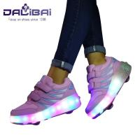 China Fashion Flashing Unisex LED Casual Shoes Luminous Roller Sneakers With Mesh Lining wholesale