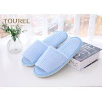 China Fresh Blue Coral Fleece Disposable Hotel Slippers Open Toe Customised Size wholesale