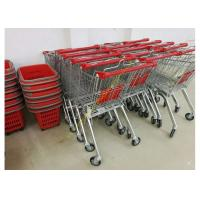 China OEM Euro Style Metal Supermarket Four Wheels Shopping Trolley For Store on sale