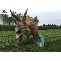 China Life Size Farm Animal Models , Full Size Triceratops Dinosaur Lawn Sculpture wholesale