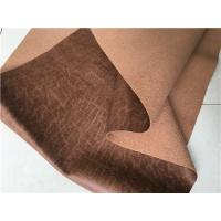 China 140cm Width Light Brown Textured Leather Fabric With 35 Meters Length Each Roll wholesale