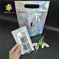 China Plastic Hologram Mylar Zipper Cosmetic Packaging Bag CMYK Color With Clear Window wholesale