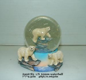China Fashion  Polystone Resin Water Globe With Animal Bear Bases 7 X 7 X 9.5 Cm wholesale