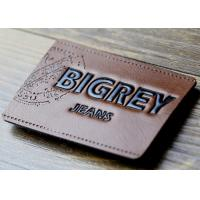 China Waterproof Leather Embossed Patches Pu Leather Labels Fashionable Design wholesale