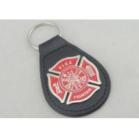 China Zinc Alloy Personalized Leather Keychains / Fire Fighter Leather Key Chain wholesale