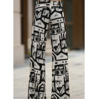 China Black And White Colors Womens High Waisted Pants Wide Leg Different Sizes wholesale