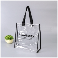 China Ready To Ship: PVC Handbag transparent vinyl Waterproof Logo art work Prints promotional jute beach bag Shopping totes B on sale