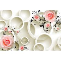 China Embossed Surface 3D Wall Decor Panels Pink Roses For Hotel TV Background Wall wholesale