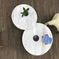 China Living Room Round Dining Tabletops Marble Stone Countertops With Metal Base wholesale