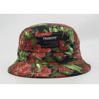 China Flower Printed Fishing Bucket Hat Cotton With Woven Patch Washing Label wholesale